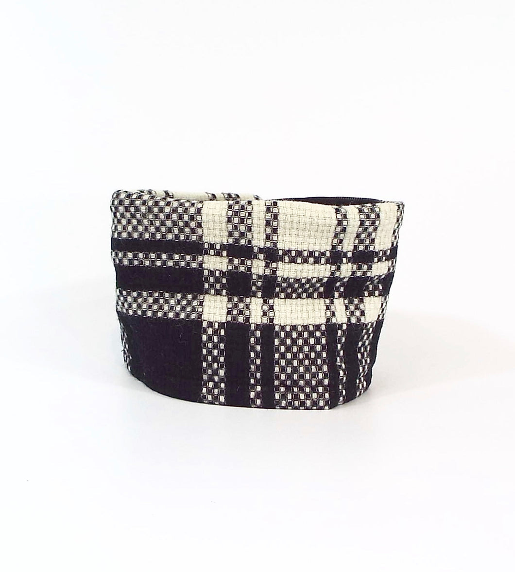 Black and White Woven Plaid Velcro on Cuff
