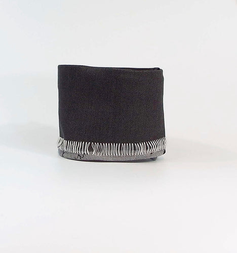 Gray Grunge - Charcoal Gray Velcro-on Cuff with Exposed Threads