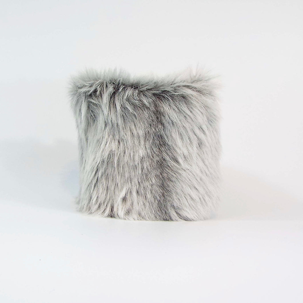 Silvery Gray Faux Fur velcro-on Cuff