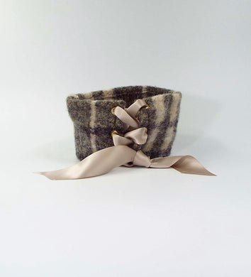 Mohair Cuff in Gray and Beige Plaid