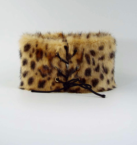 Thick Leopard Fur Tie-On Cuff