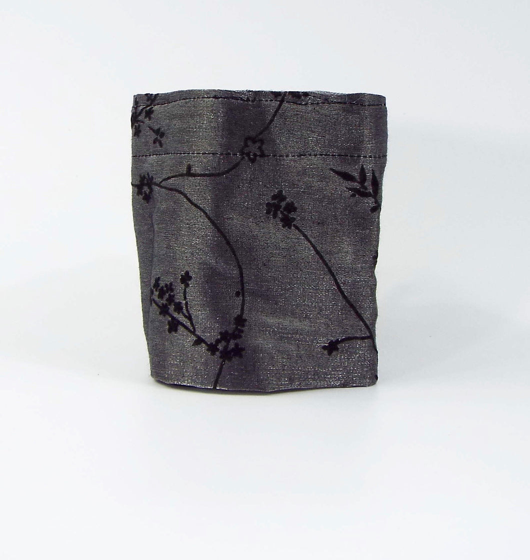 Silvery Gray Silky Cuff with Black Embroidery