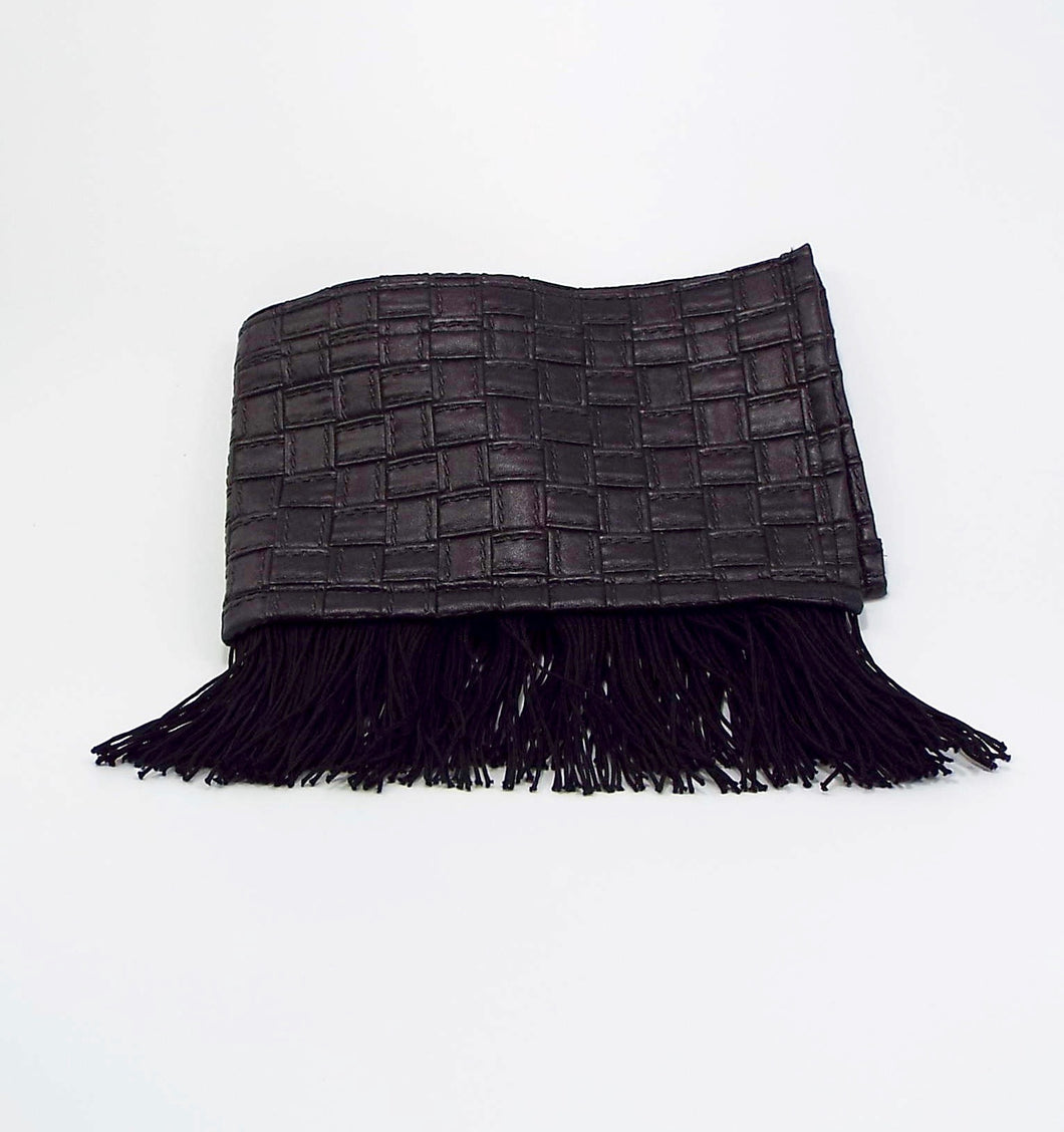 Black Woven Faux Leather with Fringe