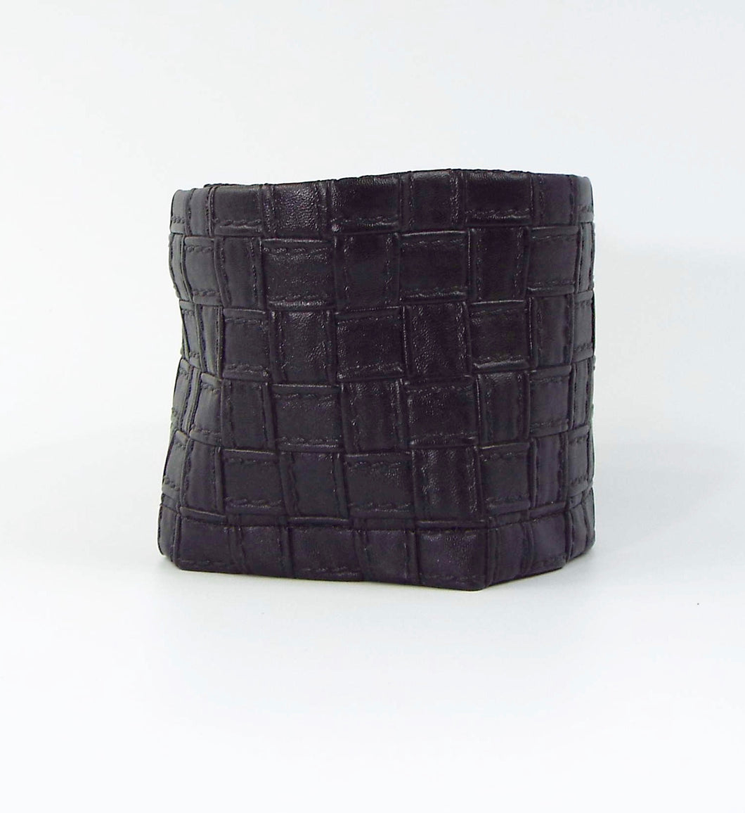 Black Faux Leather Woven Cuff