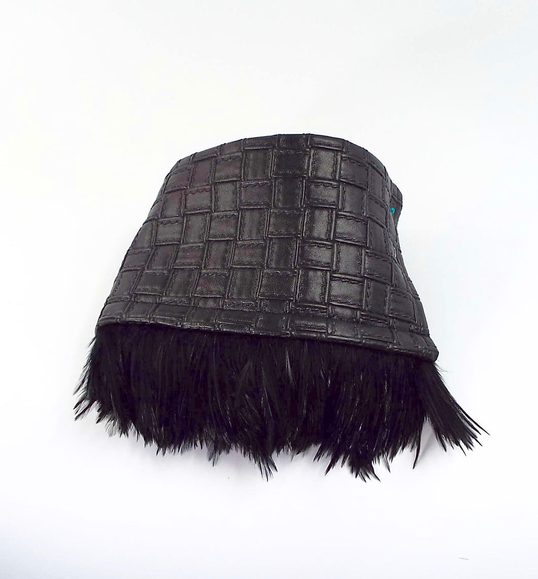 Black Faux Leather Woven Cuff with Black Feather Fringe
