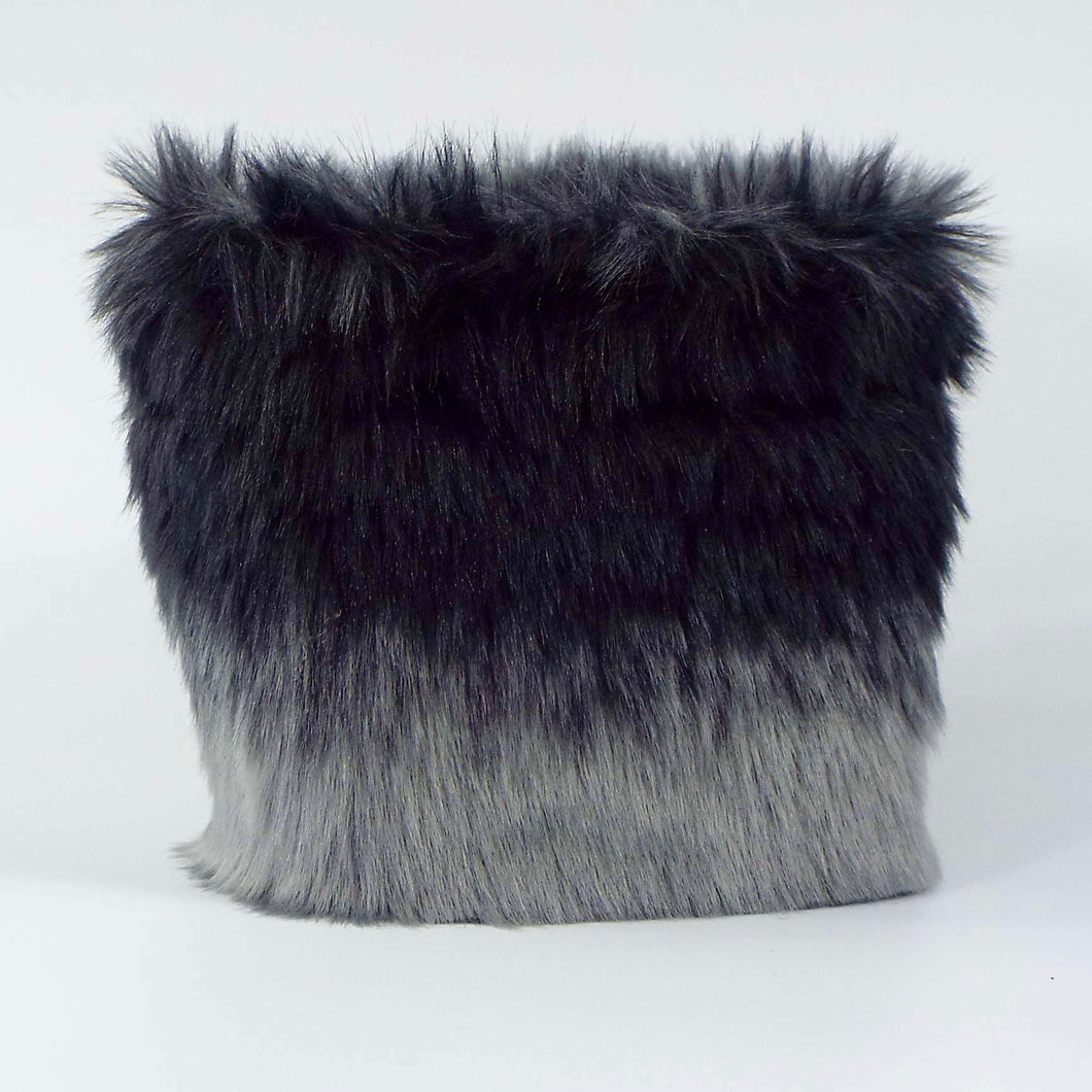 Ombre Fur Cuff - Black to Medium Gray