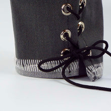 Gray Grunge Exposed Thread Tie-On Cuff