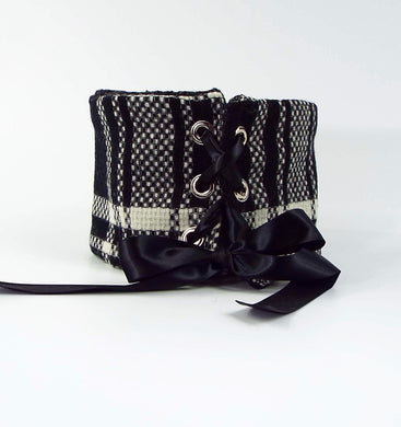 Black and Ivory Woven Plaid Tie-On Cuff