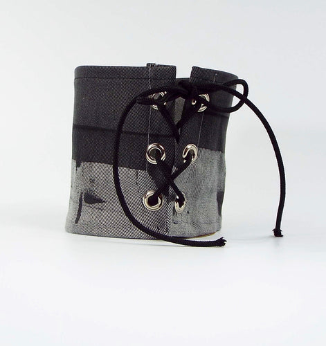 Gray Grunge Painted Effect Tie-On Cuff