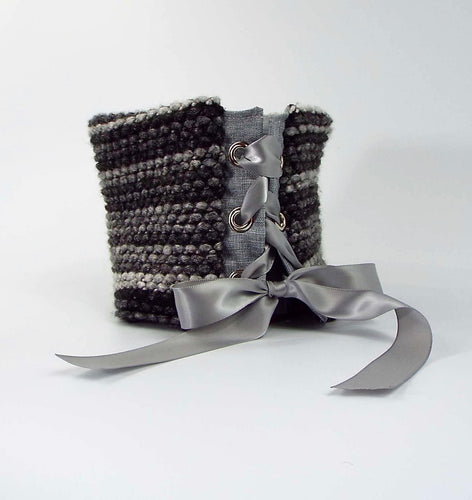 Shades of Gray Knit Reversible Tie-On Cuff