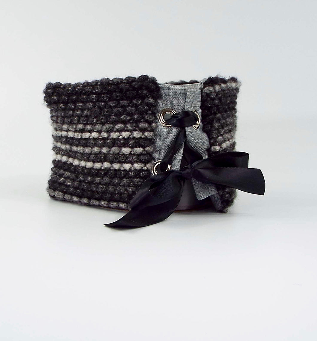 Shades of Gray Knit Reversible 2 Grommet Tie-On Cuff