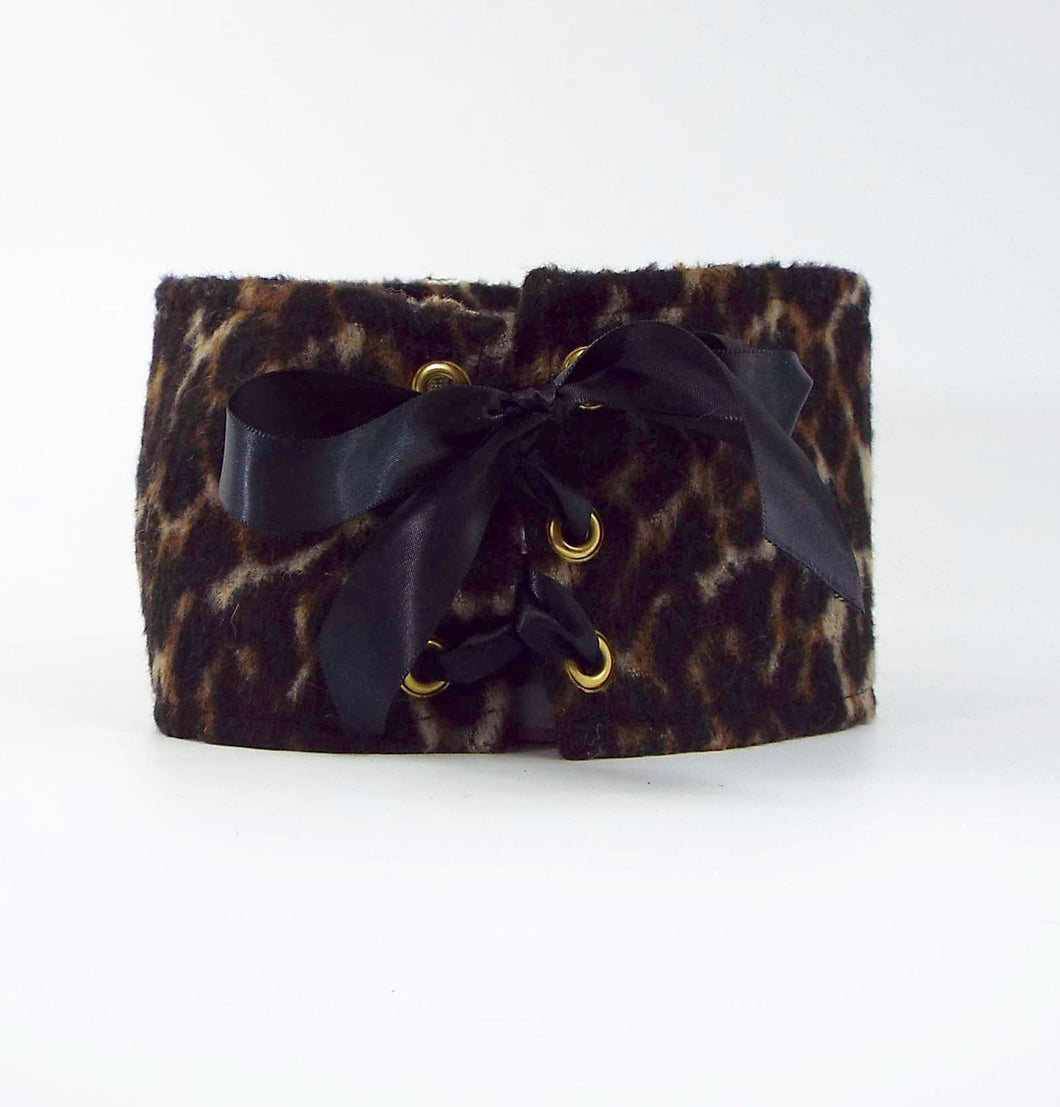 Set of 2: Fleece Giraffe Print Tie-On Cuff