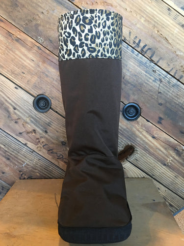 Portland Rain boot water resistant and reversible brown and black with fun leopard print cuff; cover for medical boot or walking cast