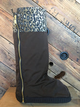 Portland Rain boot water resistant and reversible brown and black with fun leopard print cuff; covers for medical boots, walking casts