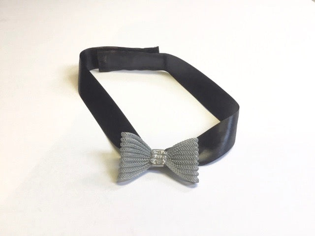 Satin and silvery metal bow accent belt for medical walking boots and air casts  for special occasion