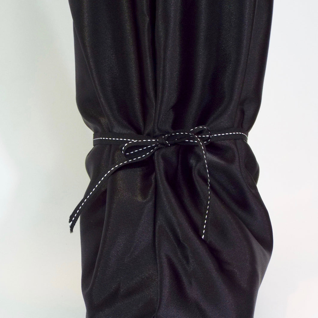Ebony Black Satin Pajama Boot Cover
