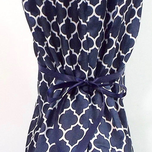 Blue and White Trellis Pattern Satin Nightie Boot Cover