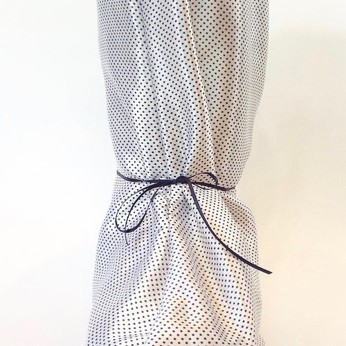 White and Black Polka Dot Silky Nightie Boot Cover