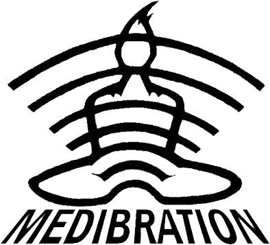 "Medibration Sticker - 3""x 3"" black on white vinyl."