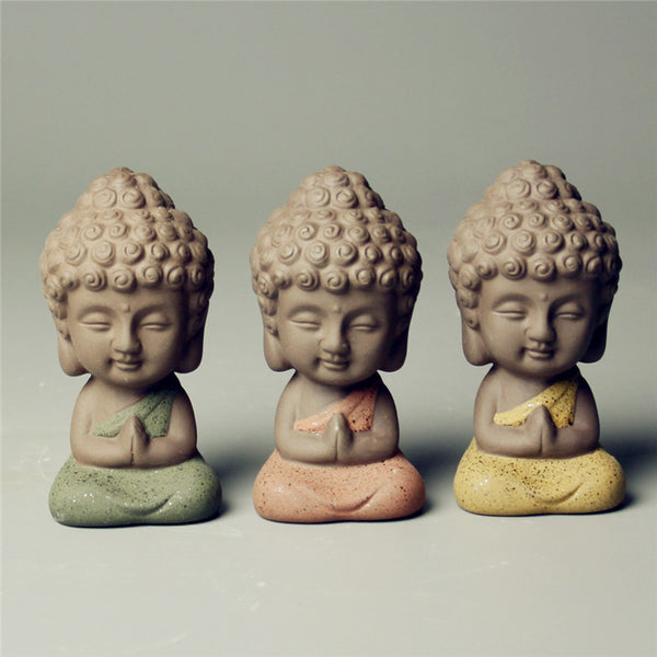 Small Buddha statue ceramic monk figurine