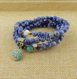 108 Natural Sodalite with lotus Mala Beads