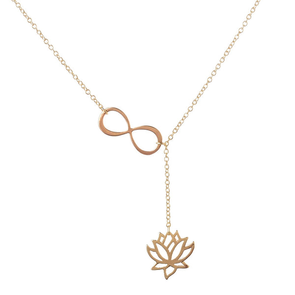 "Infinity Lotus Pendant Necklace for Women 18"" Chain"