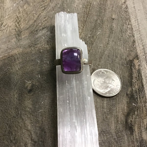 Amethyst Sterling Silver Rings (Size 7)