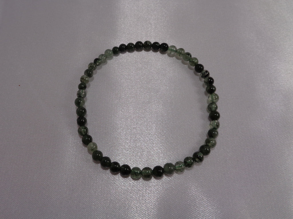 Green Rutilated Quartz Bracelet, 4 mm beads
