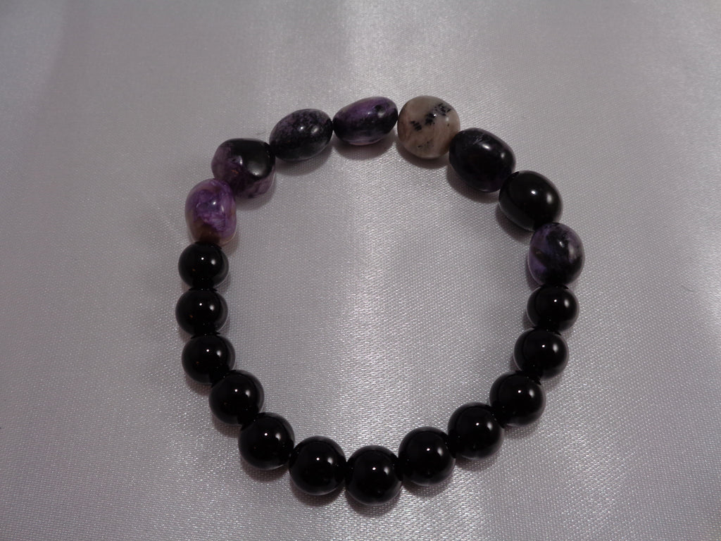 Charoite and Black Onyx Bracelet, 12 mm and 8 mm beads