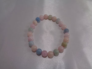 Morganite Bracelet, 6-8 mm beads