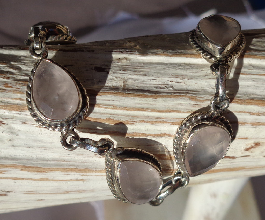 Rose Quartz Sterling Bracelet