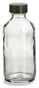 Clear Boston Round Glass Bottle with Black Cap, 4 ounce