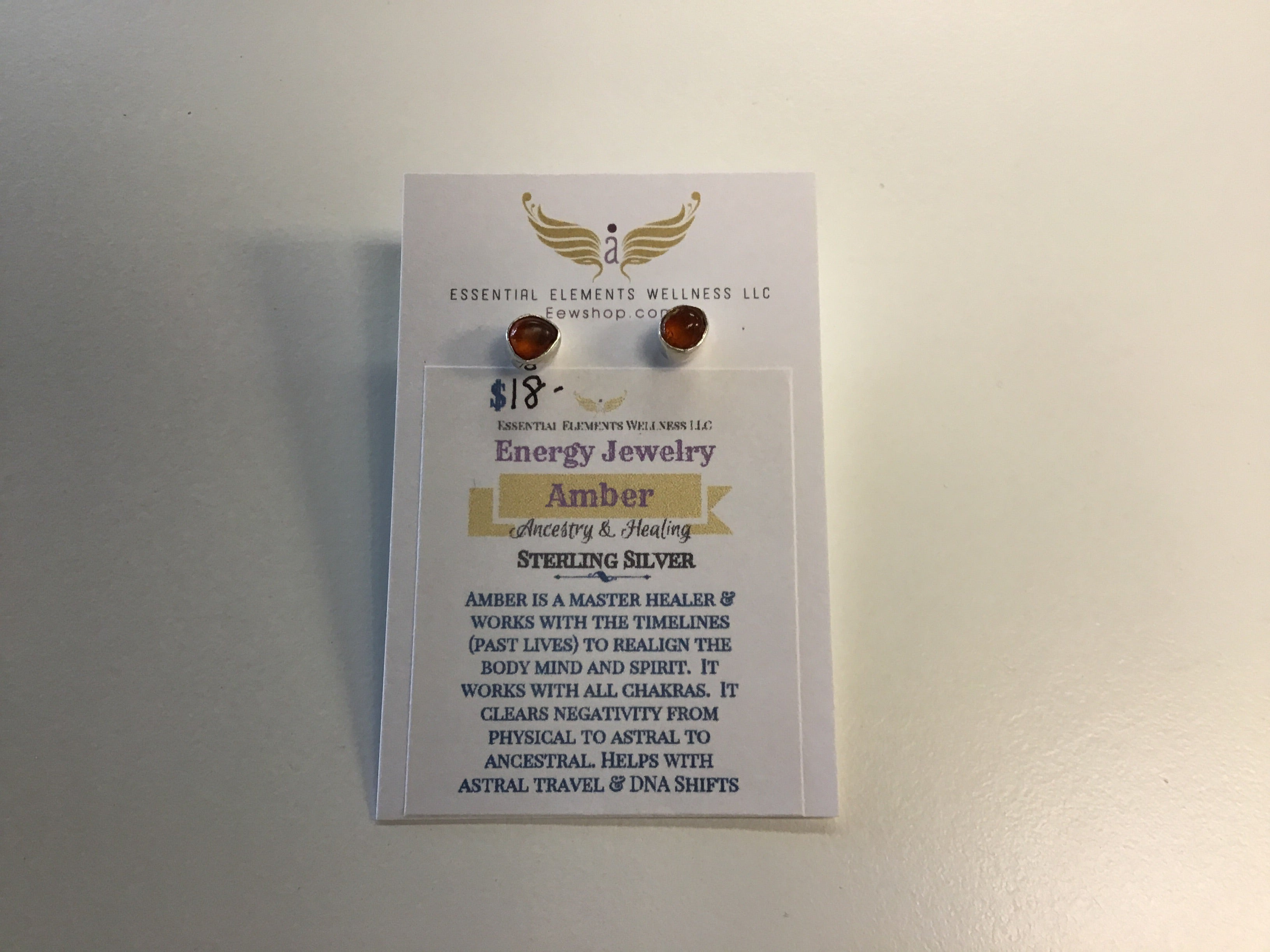 Amber Sterling silver studs