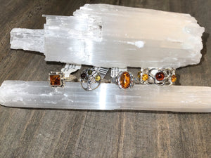 Amber Sterling Silver Rings (Sizes 4-9)
