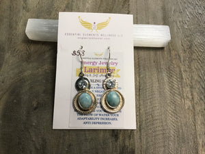Larimar and blue topaz sterling silver earrings