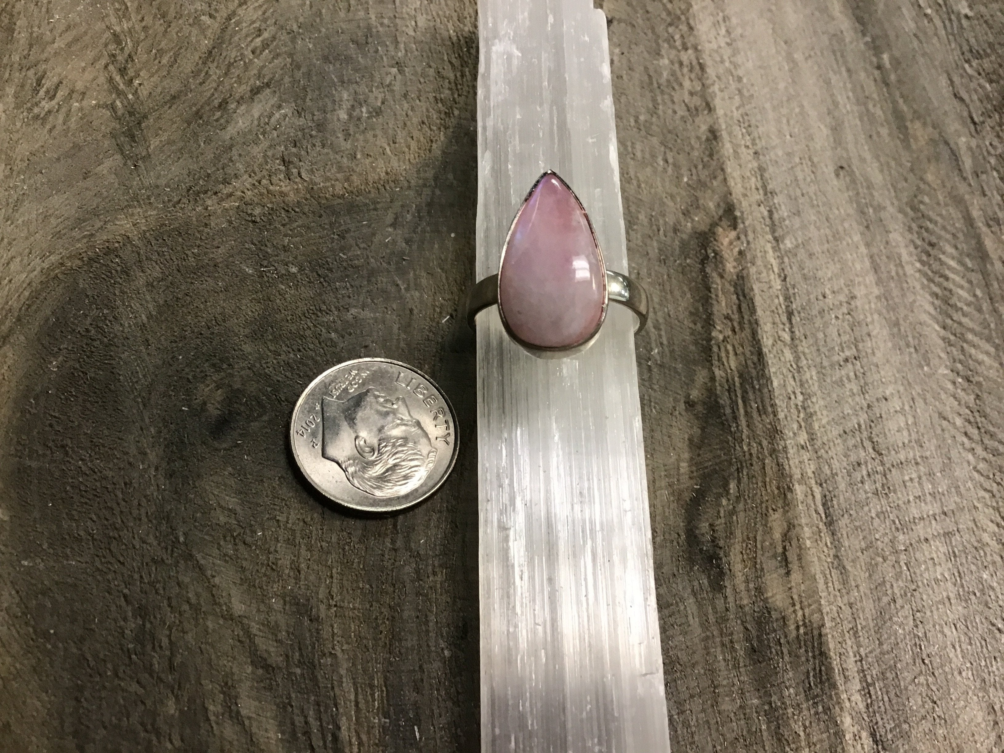 Pink Rainbow Moonstone Sterling Silver Rings (7-8.5)