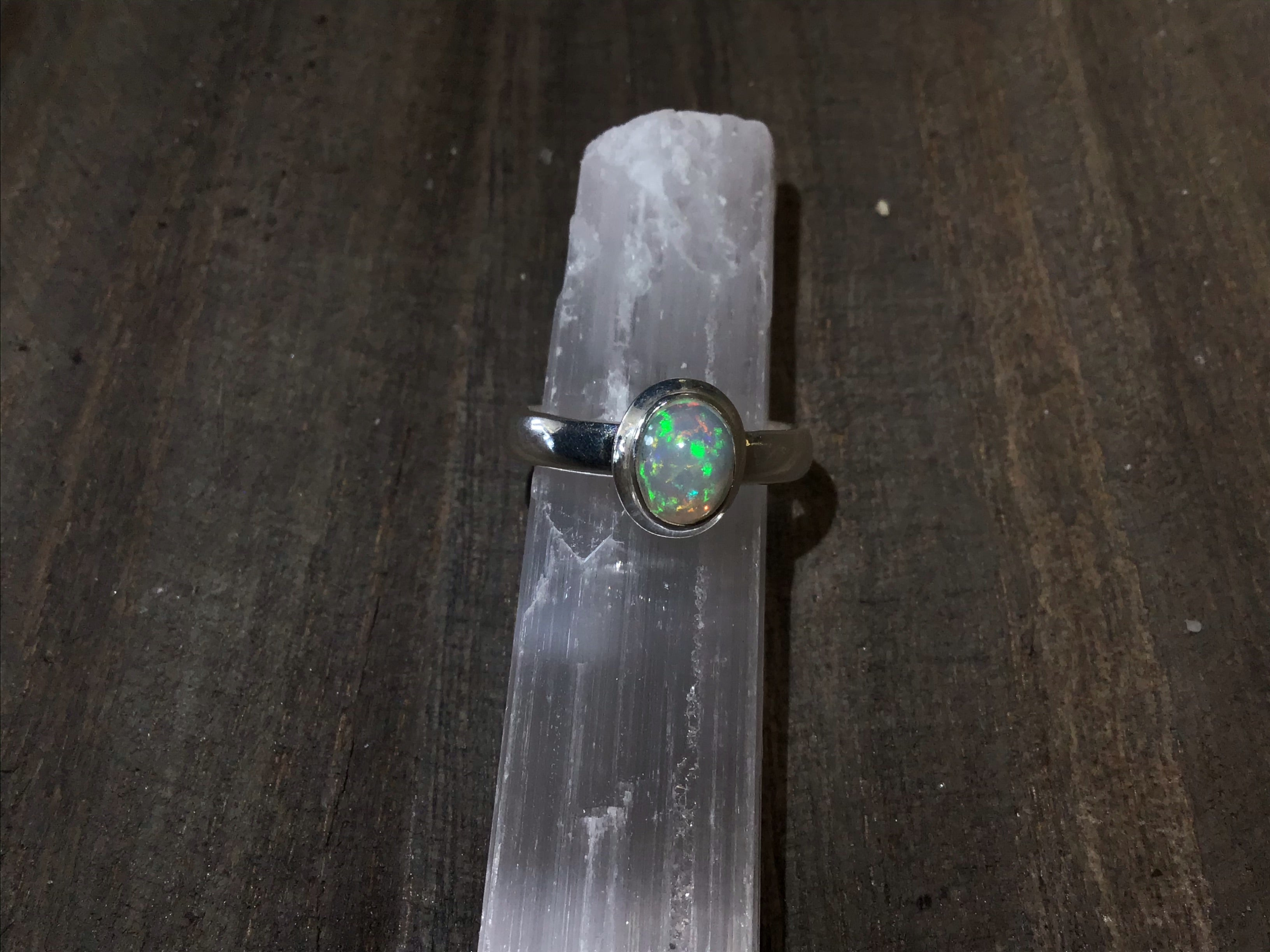 Opal sterling silver rings (size 7-9)