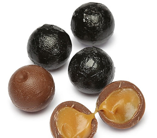 Foiled Caramel Filled Chocolate Balls - Black: 4LB Bag