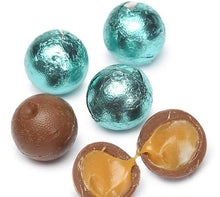 Foiled Caramel Filled Chocolate Balls - Robin Egg Blue: 4LB Bag
