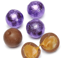 Foiled Caramel Filled Chocolate Balls - Purple: 4LB Bag