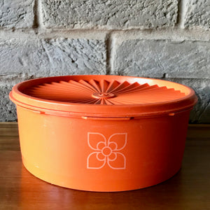 Tupperware Harvest (orange flower)  container, fan-lid