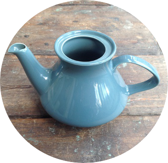 Poole Pottery Blue Moon Small Tea Pot, contour shape