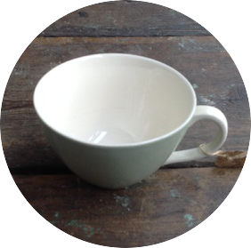 Poole Pottery Sherborne Celadon Cup - White Handle