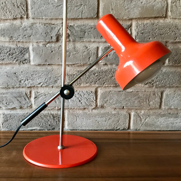 Vintage Metal adjustable Desk Lamp, orange