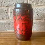231 15 West German Vase, Scheurich, red drip glaze on black