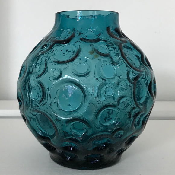 west german pressed glass bubble vase, blue