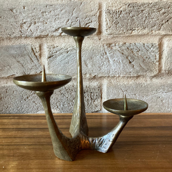 Brutalist Brass Candle Holder