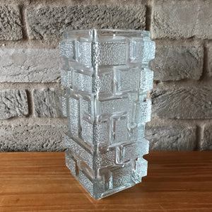 sklo union rectsngular pressed glass vase