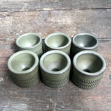 Denby Chevron Egg Cups, olive green