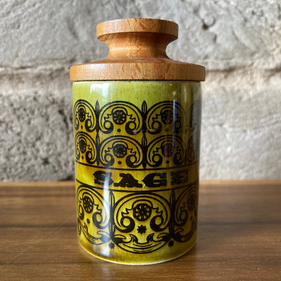 ornsea 'Scroll' Green lidded Sage Spice Jar